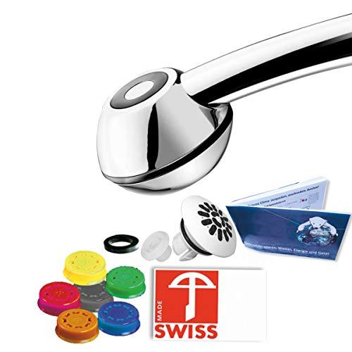 Duschkopf SwissClima BLACK FEARLESS: Wasser-+ Kostensparen f. Experimentierfreudige: 3-11 l/min (statt 13-25l), kräftiger Strahl, Regenstrahlaufsatz, 6 Regler f.7 Literleistungen, SwissMade)