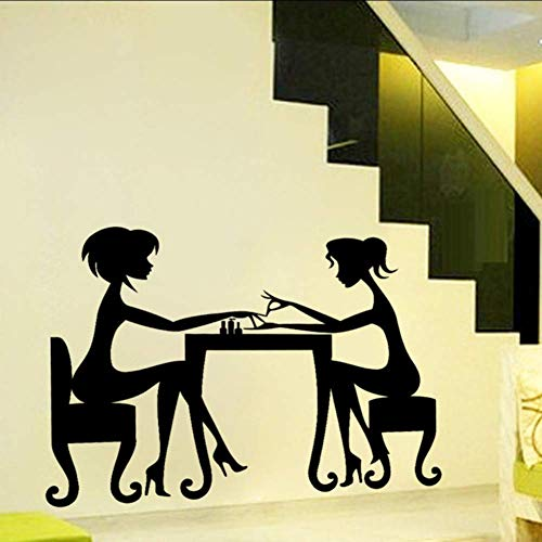 Jolies filles Wih talon haut amitié obtenir une manucure maison décalque Wall Sticker Nail Store belle décoration murale Art