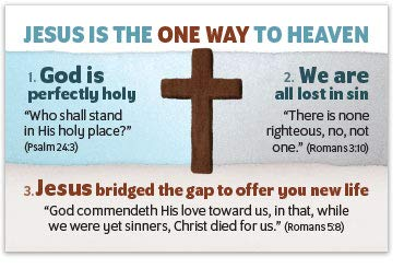 Jesus Is The One Way (Mini Gospel Tract Card, Packet of 100, KJV)