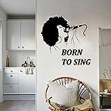 Vkjrro Calcomanía de Vinilo para Pared, Cantante, música, Karaoke, micrófono, Canto, Mujer Africana, Pegatina, Mural, decoración de Interiores, Papel Tapiz artístico, 72x70 cm