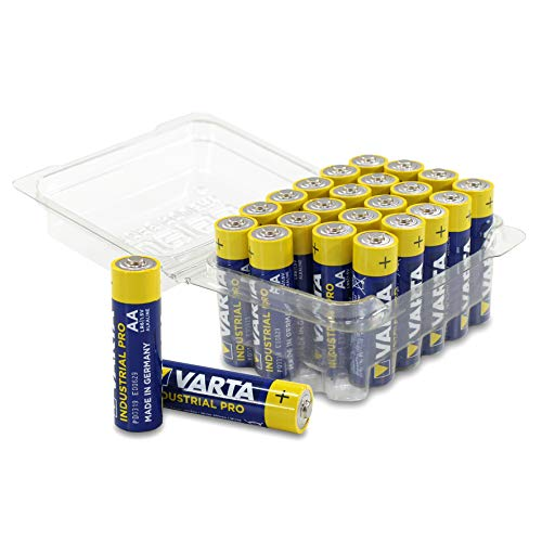 Varta Industrial Batterie AA Mignon Alkaline Batterien LR03, Made in Germany, in praktischer Batteriebox von WEISS - more power +, 24er-Box