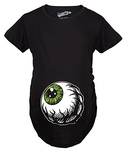 Crazy Dog Tshirts - Maternity Eyeball Funny Halloween Costume Tee Pregnancy Announcement Baby Bump T Shirt (Black) - 3XL - Femme