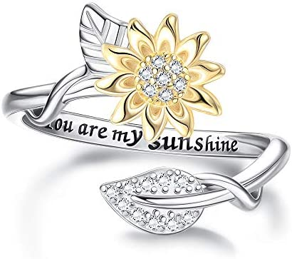 Milacolato You are My Sunshine Ring 18K Gold Plated Sterling Silver Sunflower Open Band Rings product image