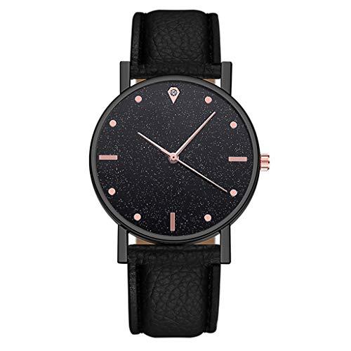Neubula - Reloj de pulsera de cuarzo para mujer, analógico, reloj de pulsera de lujo con correa de piel para novia, vacaciones, viajes, negocios, regalo de cumpleaños y fiesta (negro)