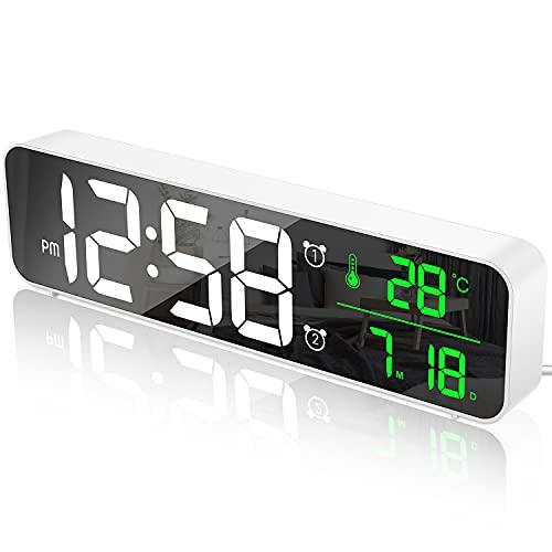 MOSUO Sveglia Digitale da Comodino, Orologio da Parete con LED Temperatura Data, 10   Specchio Grande Schermo USB Clock, 2 Allarme 40 Musica 6 Luminosità di Regolabile 4 Volumi, Bianco