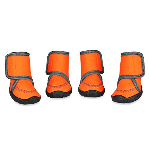 Prumya Dog Boots Waterproof Paw Protectors Dog Shoes with Adjustable Straps and Rugged Anti-Slip Sole, 4pcs (XL)