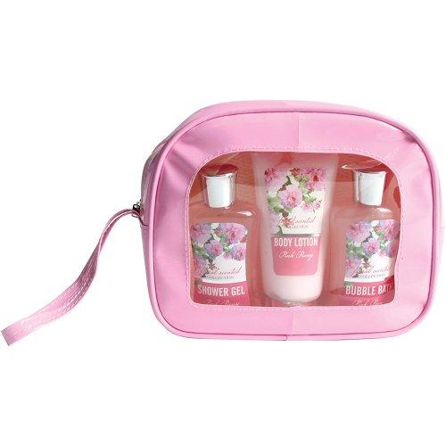 Gloss Trousse de Bain Floral Parfum Pivoine 4 Pièces, Coffret Cadeau-Coffret de bain