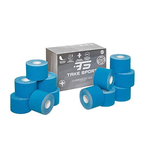 NOVITA' 2020! TAKE SPORT®, Kinesio tape, Nastro kinesiologico, Tape kinesiologico, Kinesio taping. 12 rotoli, 5 x 5m, 95% Cotone 5% Spandex, elastico. Azzurro