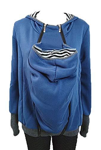 Freitop 2 in 1 Tragejacke für Mama und Baby Umstandsjacke Känguru Jacke für Damen Winter Fleece Jacke Softhell Tragetuch Babytrage Schwangerschaftsjacke Kapuzenjacke Sweatshirts Schwarz Blau