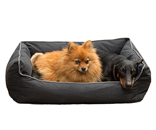 TierXpert Hundekissen Hermes, 65cm x 59cm x 21cm, Waschbares Hundebett, Hundekorb mit Wende-Hunde-Kissen, Schlafplatz für Hunde & Katzen, Anti-Rutsch-Bezug