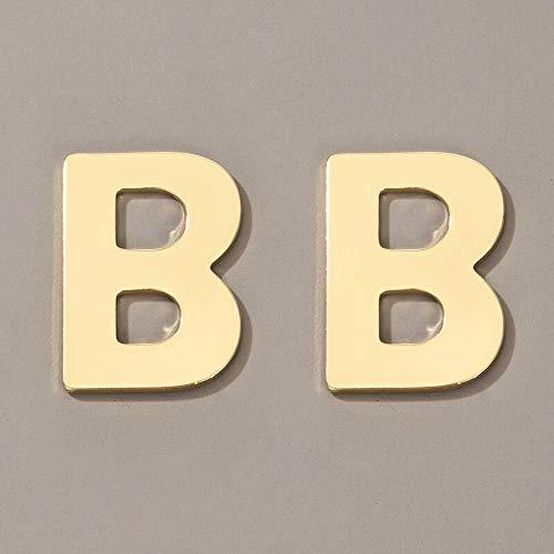 FEARRIN Pendientes Trendy Unique Design Trendy Letter B Stud Pendientes para Mujer Elegancia Hueco Geométrico Color Dorado Aleación Metal Fiesta Joyería Accesorios Oro
