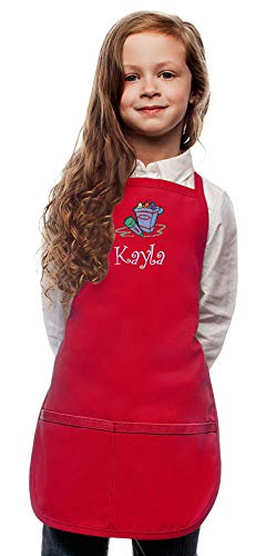 My Little Doc Personalized Red Kids Art Smock Crayons Embroidery Design, Reg