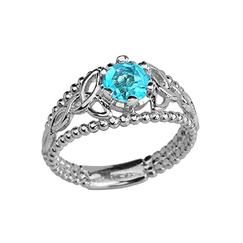 Sterling Silver Modern Beaded Celtic Trinity Knot Engagement Ring with Genuine Blue Topaz (Size 5.25)
