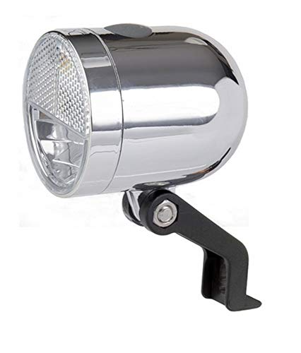IkziLight Scheinwerfer Nero, Retro 1W-LED + Reflector, Chrom, Silber, S