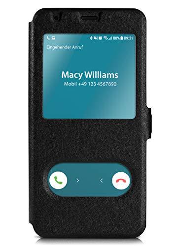 moex Klapphülle in Lederoptik inkl. Sichtfenster kompatibel mit Samsung Galaxy A8 (2018)   Integrierte Standfunktion + Magnetverschluss, Schwarz