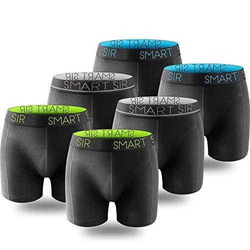 Smart Sir Herren Boxershorts Retroshorts 6er Pack Baumwolle Unterhose Männer Weiche Passform Unterwäsche Herren