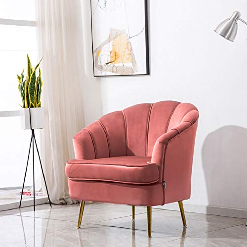 WamieHomy Modern Velvet Armchair Tub Occasional Chair with Solid Metal Legs for Living Room Bedroom Reception Contemporary (Smoky Pink)