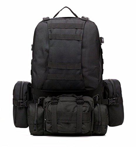 Greenpromise 50L Molle Tactical Backpack Waterproof 600D Assault Outdoor Travel Hiking Sport Military Rucksacks Backpacks Hunting Army Bag (Black)