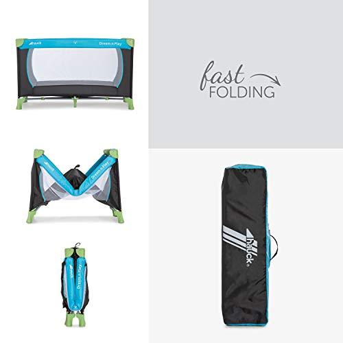 Hauck Kinderreisebett Dream N Play / inklusive Einlageboden und Tasche / 120 x 60cm / ab Geburt / tragbar und faltbar, Wasser (Blau) - 4