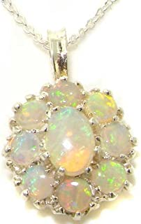 Ladies Solid 925 Sterling Silver Natural Fiery Opal Large Cluster Pendant Necklace