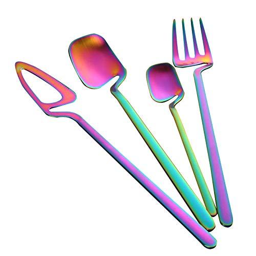 Zuoye 4pcs Stainless Steel Dessert Forks Set Cake Fruit Forks Coffee Tea Dessert Spoons Kitchen Wedding Party Accessory