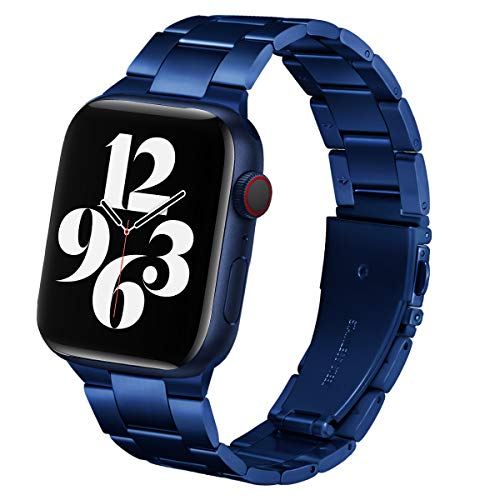 Steel Band Compatible with Apple Watch Bands 44mm 42mm, Business & Leisure Upgraded Stainless Steel Metal Solid Replacement Strap for iWatch Series 6/5/4/3/2/1 & SE Men and Women - Blue