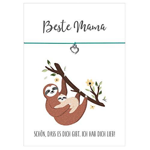 Glücksschmiedin Beste Mama - Armband mit Herz Anhänger versilbert, elastischem Textilband in türkis und Faultier Karte für Mamas und Muttis