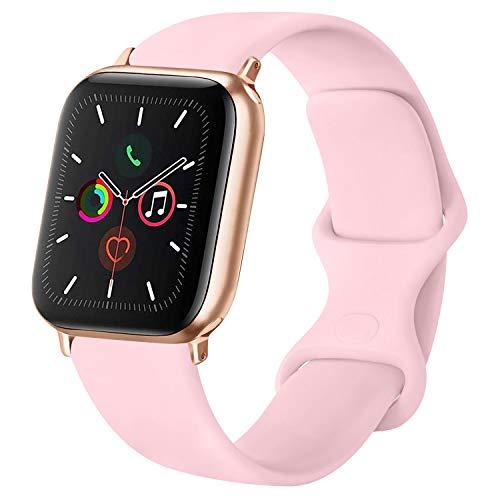 ATUP Cinturino Compatibile per Apple Watch Cinturini 38mm 42mm 40mm 44mm, Cinturino di Ricambio in Silicone Morbido per iWatch Series 4, Series 3, Series 2, Series 1 (07 Pink, 38mm/40mm-S/M)