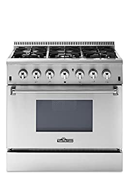 """Thor Kitchen 36"""" - 5.2 cu. ft Dual Fuel Range - Freestanding Electric Oven with 6 Burners Gas Range and Convection Blower Fan - Stainless Steel - HRD3606U-1 (Without LP Conversion Kit)"""