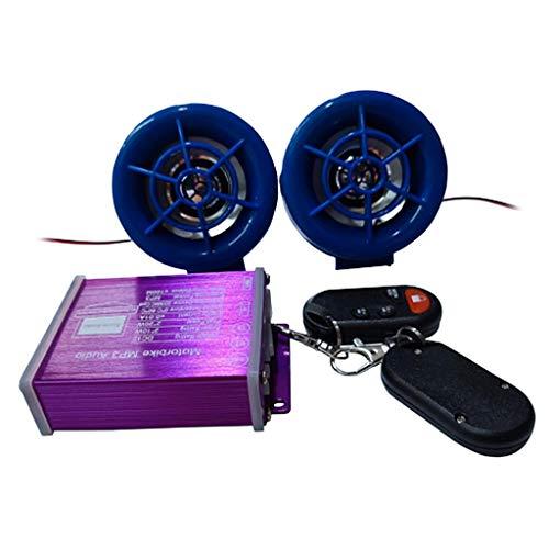 H HILABEE Moto Audio Radio FM MP3 Esté Altavoces Cromados Sistema De Sonido - Púrpura + Azul