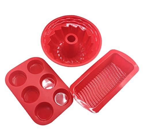 Set de 3 Accesorios de Moldes de Silicona de Repostería y Pastelería antiadherentes para Horno, Microondas y congelador para Hacer Pan, Bizcochos, Tartas, Magdalenas, Pasteles, Muffins, Brownie