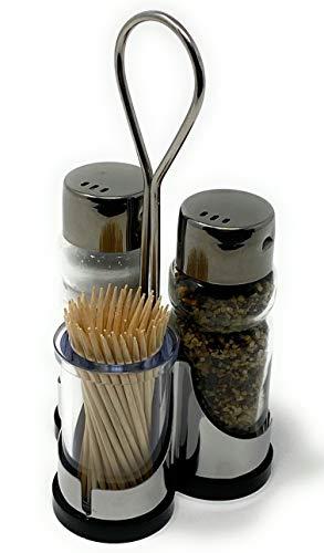 Menage Salz und Pfeffer Streuer Set Zahnstocher 230 Salzstreuer Pfeffestreuer Klein Mini Edelstahl Glas