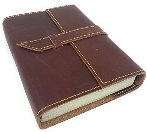 Tuk Tuk Press, Handmade Buffalo Leather Journal, Luxury Medium Brown Smooth Finish, 200 Tree Free Thick Recycled Cotton Pages, Refillable, Lined Paper, (8 Inches x 6 Inches Lined Paper)