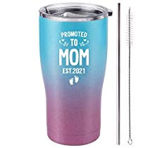 Promoted to Mom Est 2021 Tumbler - New Mom Gifts Ideas - First Time Mom - Mom to be - Mommy w/New Baby Gift - Cute Expecting Mother to be Baby Shower Presents for Her (Purple Teal Glitter, 20 Oz)