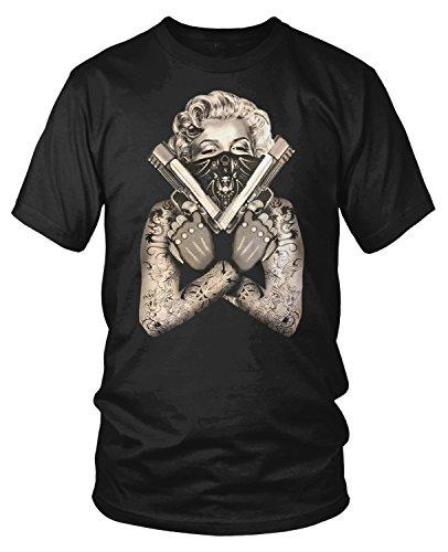 Amdesco Men's Marilyn Monroe Gangster Guns Tattoos T-Shirt, Black 4XL