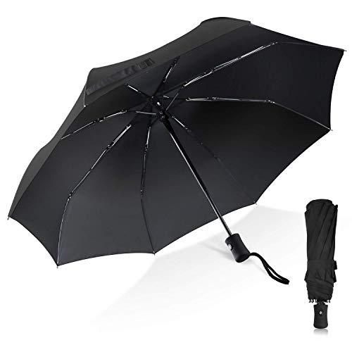 TechRise Regenschirm Taschenschirm mit Einhändiger Auf-Zu-Automatik Kompakt Stockschirm Transportabel für Reise
