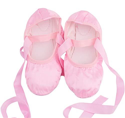 AISHANGYIDE Mädchen Satin Ballettschuhe Tanzschuhe Ballettschläppchen Damen bequem Spitzenschuhe mit Band Kinder Erwachsene Gymnastikschuhe Ballet Trainings Schläppchen Schuhe Weiche Sohle Gr.23-39