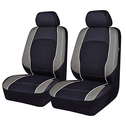 HORSE Kingdom, coprisedili universali per auto, due anteriori in finta pelle per auto, camion, SUV, furgoni compatibili con Airbag (nero con grigio)