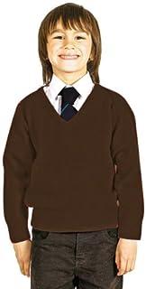CKL Jersey de punto para uniforme escolar con cuello en V, mezcla de lana de primera calidad