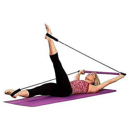 CHYIR Tragbares Pilates-Stangen-Set mit Widerstandsband, Yoga-Übungsstab, Trainer, Fitness-Stange mit Fußschlaufe
