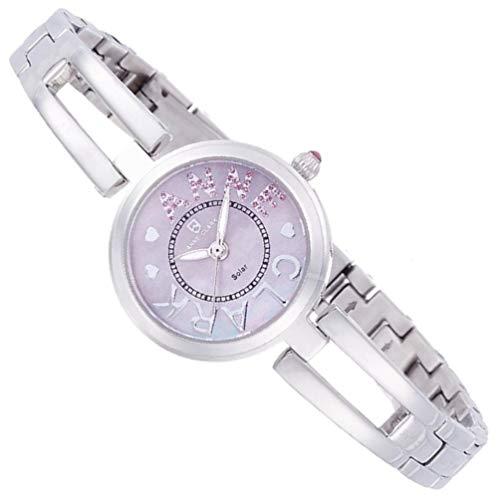 ANNE CLARK レディース腕時計 ソーラー 電池交換不要 お肌に優しいオールステインレス素材 天然シェル文字盤 シルバーカラー エコ (ピンク)