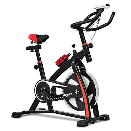 COSTWAY Indoor Fahrrad mit 10KG Schwungrad, Heimtrainer Fahrrad mit einstellbarem Widerstand, Sitz und Lenker, Getränkehalter und LCD-Anzeige, Fitnessbike bis 130KG belastbar, inkl. Wasserflasche