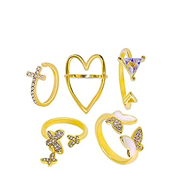 Amazon - Save 80%: Vintage Women Mid Ring Set Flower Crown Hollow Out Joint Knuckle Nail Ri…
