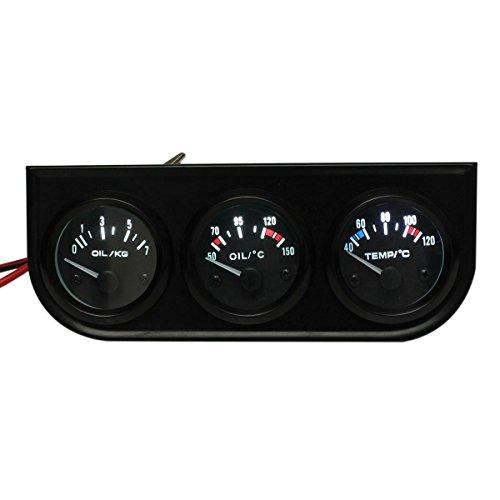 Salpicadero del coche - SODIAL(R)3 conjunto de manometro de puntero de coche ¨C temperatura de agua ¨H/ presion de aceite/ voltio - luz LED de 2' 52MM