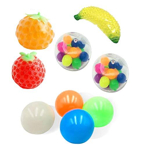BSTiltion Anti Stress Spielzeug Set 9er Set Globbles Sticky Bälle & Fruchtball Banane Erdbeerkugeln Fidget Toy Set Squeeze Ball Antistressball für Autismus, Anti-Angst für ADD ADHS, Kinder Erwachsene