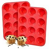 EEM de 12 Taza Muffin Cupcake Back de Silicona Rojo tabletts Sartenes/Non Stick/lavavajillas de microondas Seguro, 29.3 x 22.3 x 3