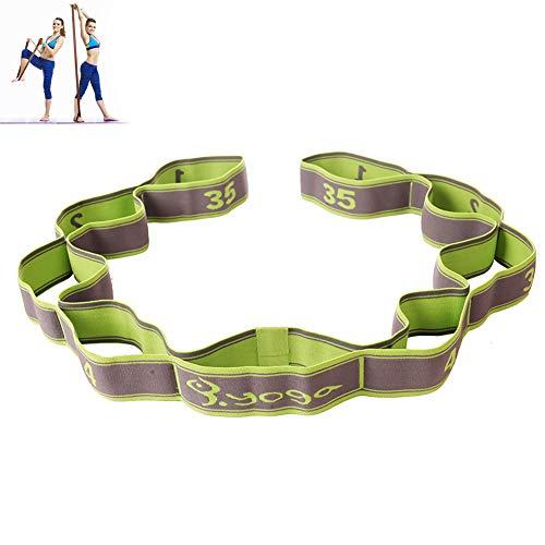Yoga Stretching Band Yoga Stretch Gurt/ Stretchgurt/ Gymnastikband mit 8 Schleifen/Fitness Pilates Physiotherapie Stretch Gurt/ Grün