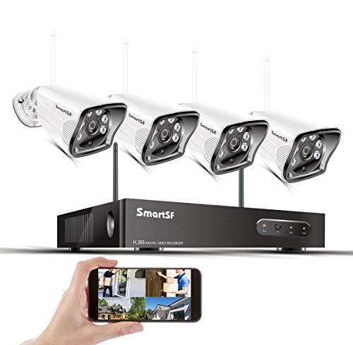 Kit de Cámaras vigilancia IP WiFi Exterior, 8CH 1080P NVR,vigilancia CCTV, con(4) 2.0MP IP66 Impermeable Cameras, Visión Nocturna, Movimiento Detectión, Acceso Remoto(sin HDD),Conecta y Reprod