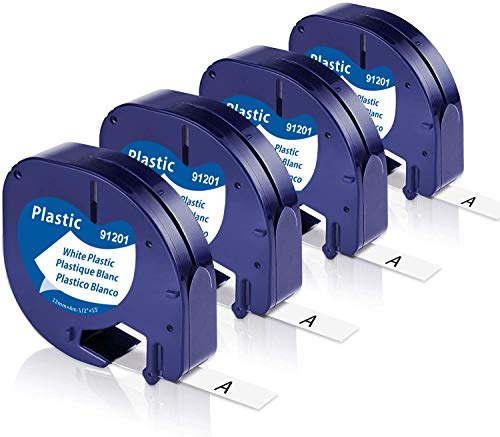 Unistar Kompatibel Band als Ersatz für Kunststoffetiketten LetraTag Plastic White 12mm x 4m, schwarz auf weiß 91221 S0721660 für Dymo Letratag LT-100H LT-100T XR Etikettendrucker