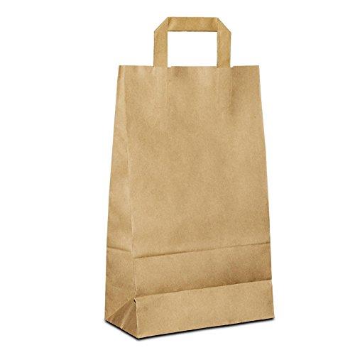 100 x Papiertragetaschen braun 22+10x36 cm | stabile Papiertüten |Kraftpapiertüten Flachhenkel | Papiertaschen klein | Taschen | HUTNER